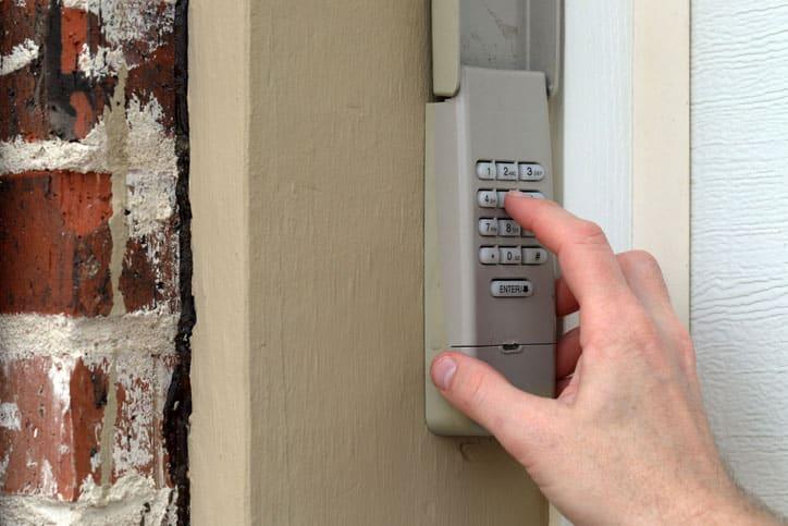 Handing Typing Garage Door Keypad
