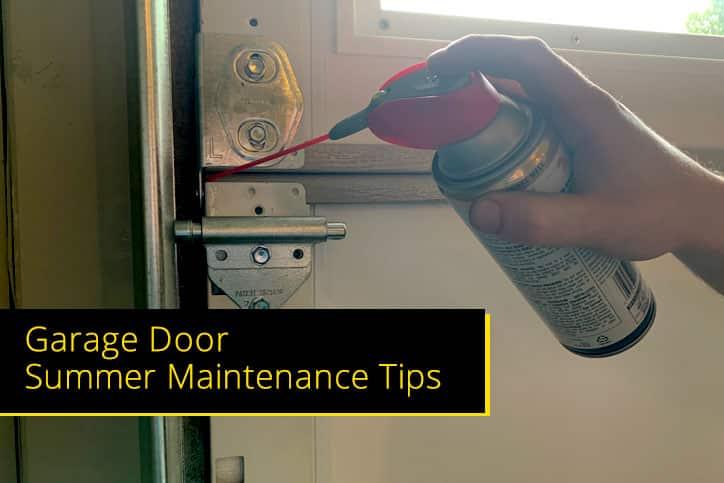 Closeup Lubricating for Garage Door Summer Maintenance Tips