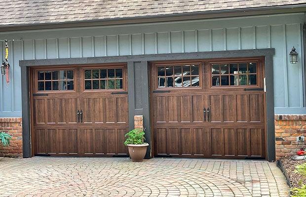 Finished Garage Door Repair in Lowell MI of Brown Garage Door
